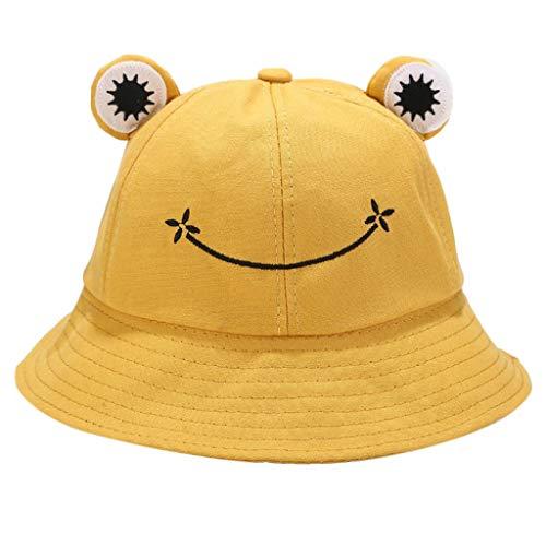 WE-WHLL Niños Niños Cute Cartoon Rana Animal Bucket Hat Color sólido ala Ancha Protección Solar Empacable Ajustable Playa Vacaciones Fisherman Cap-Yellow