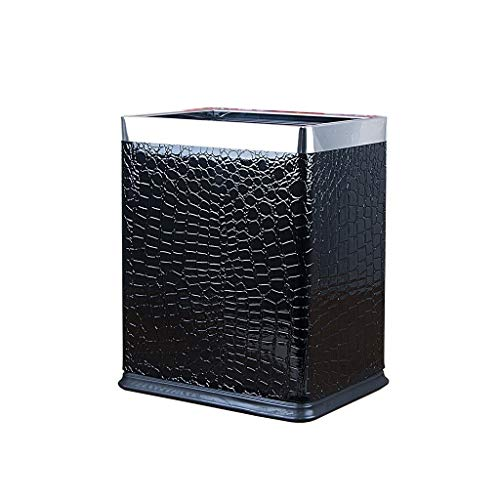 LOMJK Papeleras Bote de Basura de Acero Inoxidable Cocina Cocina Dormitorio Oficina Sin Tapa Cubo de Basura Papelera de baño Cuarto de baño pequeño Cuadrado 10L Cubos de Basura (Color : D)
