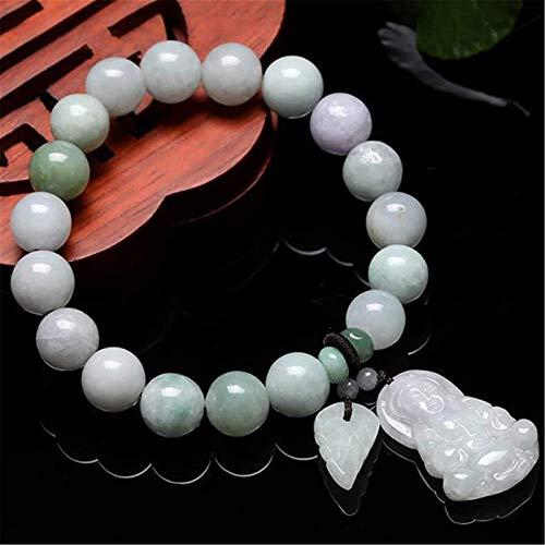KEEBON Feng Shui Wealth Bracelet Jade Bangle Jadeite Stretch Bracelet with Guanyin Pendant Jade Bracelet,Natural Buddha Beads Attract Good Luck Money Lucky Charms Gift for Women/Men