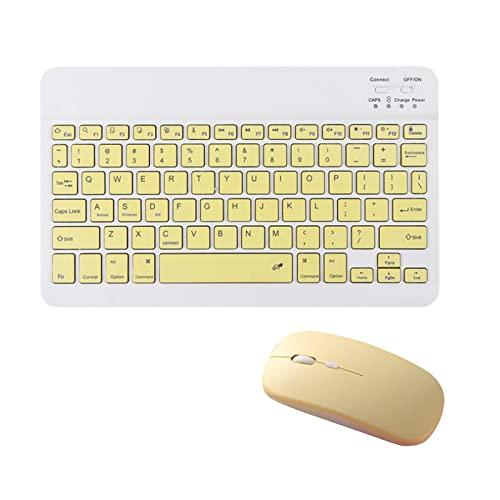 Kstyhome Tableta Combo de teclado y mouse inalámbricos Diseño ultradelgado Batería recargable para teléfono inteligente Tableta Compatible con i-P-a-d Sistema de soporte informático MASOS iOS Windows