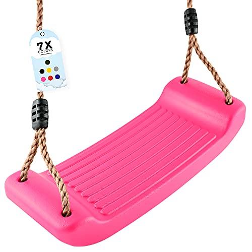 GO!elements Columpio de jardín para niños, para interior y exterior, columpio para niños, altura regulable, antideslizante, color rosa