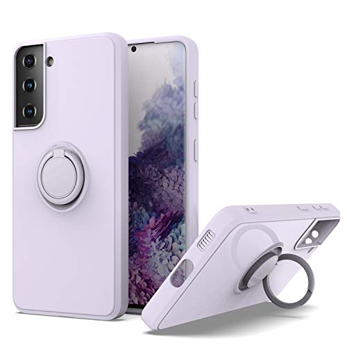 KWEICASE Cell Phone Case for Samsung Galaxy S21 Plus with 360 Degrees Rotating Metal Magnetic Ring Kickstand, Soft TPU Rubber Bumper Microfiber Lining Cushion Shockproof Protective Case, Lavender