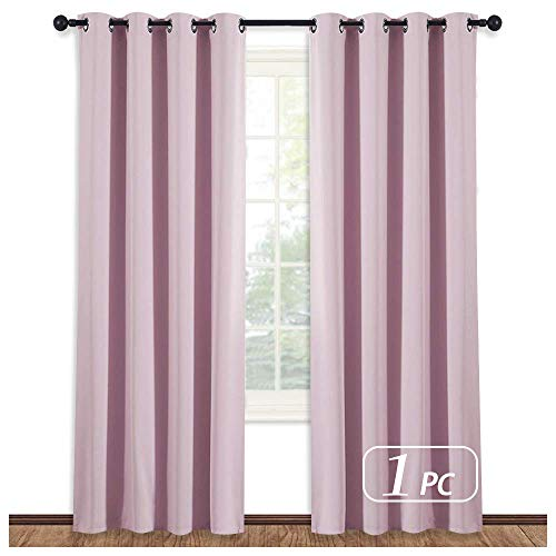 NICETOWN Room Darkening Curtain Panel - (Baby Pink/Lavender Pink Color) Thermal Insulated Light Reducing Blind/Drape for Girl's Room, 52Wx84L, 1 Panel