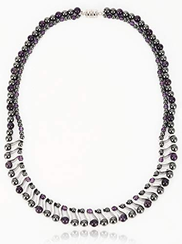 Elegant Womens Hematite Magnetic Therapy Necklace with Healing Stones Pain Relief for Neck Arthritis Migraine Headaches Shoulders and Back (Regular, Amethyst)