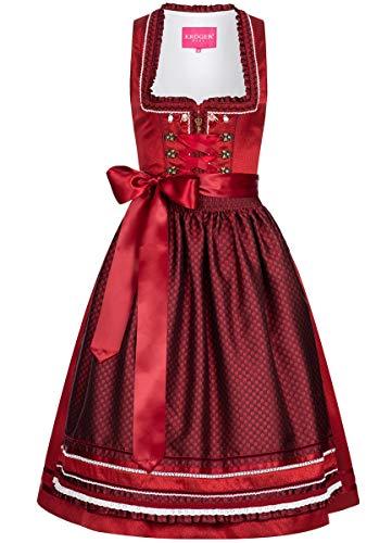 Krüger Dirndl Damen Trachten-Mode Midi Dirndl Silvia in Rot traditionell