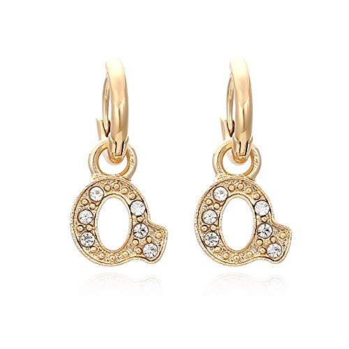 Pendientes de diamantes creativos de moda con letras inglesas Pendientes grandes retro para mujer Pendientes de hebilla de cobre de la Semana de la moda de París