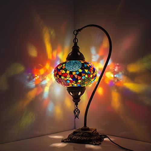 Lampada turca (20 variazioni) - Lampada da tavolo a mosaico fatta a mano - Lampada decorativa marocchina - Lampade rustiche Cool Mosaico - Lampadina LED inclusa con scatola speciale
