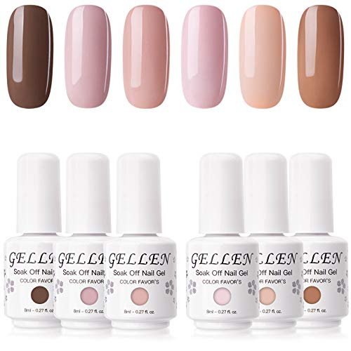 Gellen Gel Nail Polish Kit - SandyBrown Nudes Natural Skin Tone, Pigmented Popular Nail Art Gel 6 Colors Home Gel Manicure Set