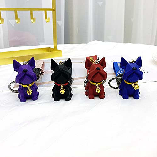 YGHC French Bulldog Keychain PU Leather Punk Car Key Ring Pendant Key Chain Gift for Women Kids(4color)