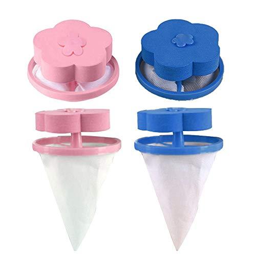 JIUZHOU 2/4/6/8/PCS Filet Filtre à Cheveux, Dispositif Flottant de RécupérationPoils pour Animaux de Compagnie de Filtrage de Poils de Nettoyage Sac Filtre à Flotteur Universel pour (4PCS,Bleu,Rose)