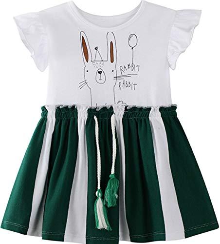 Miss Bei Little Girls Cotton Casual T-Shirt Dresses Cartoon Summer Short Sleeve Skirt Dresses Toddler Girl Clothes4#Green rabbit7T