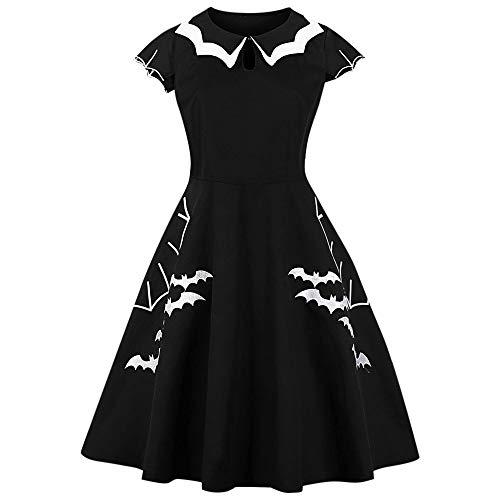 BeautyGal ZEZCLO Damen Mehrlagiger Kragen Halloween Fledermaus-Muster Party-Kostüme Übergröße Kleider - Schwarz - XX-Large