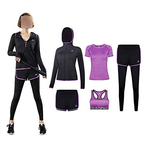 LIU Yoga Sport Clothing Suits Women's yoga 5-piece suit, soft, comfortable and quick-drying running jogging fitness workout sportswear, shorts/short sleeves/bras/long sleeves/coats/trousers, women's s