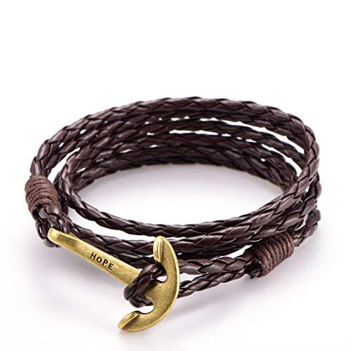 LLXXYY gevlochten armband voor vrouwen, vintage gevlochten touw, 60 cm, PU-bruin leer, gouden ankerarmband, bedelarmband, voor mannen en meisjes