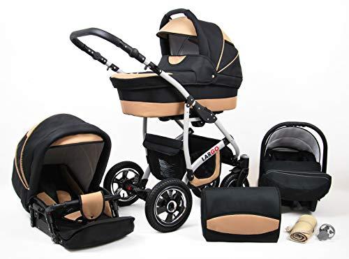 Cochecito de bebe 3 en 1 2 en 1 Trio Isofix silla de paseo New L-GO 2 by SaintBaby negro & beis 2in1 sin Silla de coche