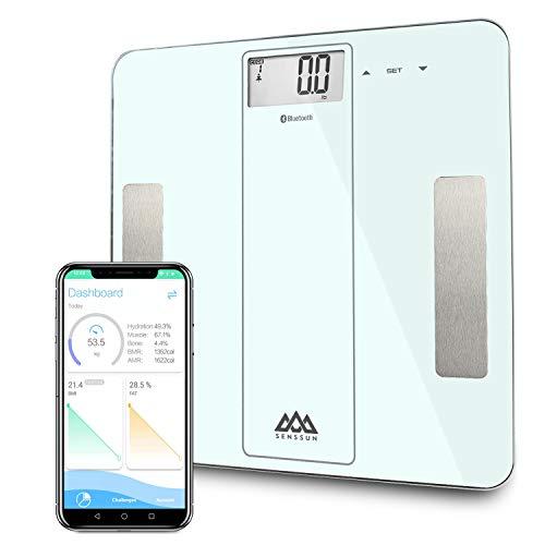 SENSSUN Bluetooth Medidor Inteligente de Masa Corporal, Báscula Digital de Baño, BMI Báscula de Peso, Analizador de composición de Cuerpo con IOS y Android APP (Blanco)