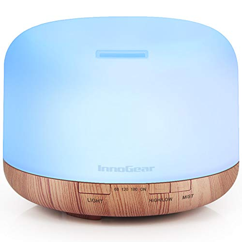 InnoGear Aromatherapy Diffuser, 500ml Diffusers for Essential Oils Cool Mist Humidifier Aroma Essential Oil Diffuser with 4 Timers 2 Misting Modes Waterless Auto off