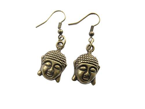 Buddha Earrings,buddhist Jewelry,zen,yoga Jewelry,bronze Buddha,spiritual,buddha Head Earrings
