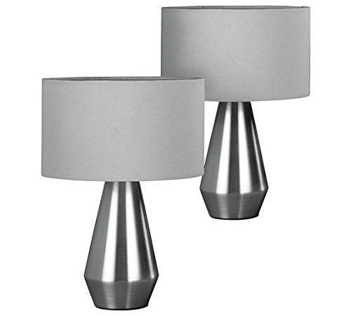 Habitat Pair of Maya Table Touch Lamps - Grey