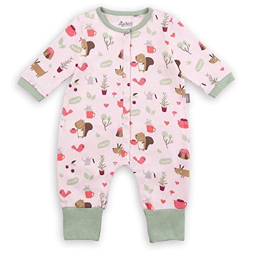 Sigikid Baby-Mädchen Nachtwäsche Overall mit Klappbündchen aus Bio-Baumwolle, Größe 056-080 Kleinkind-Schlafanzüge, Rosa, 74