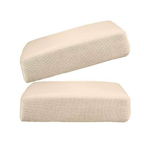 FLAMEER 2Pcs Cream_Size S Polyester Spandex Elastic Sofa Futon Seat Cushion Cover Couch Slip Covers Protector Replacement Home Living Room