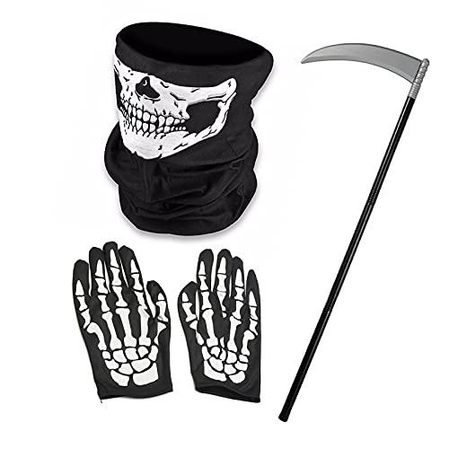 WTpin 4 Piezas Guantes de Esqueleto con Dedos, Skeleton Glove, y Máscara de Calavera, Guadaña para Halloween, Apto para Todo Tipo de Fiestas