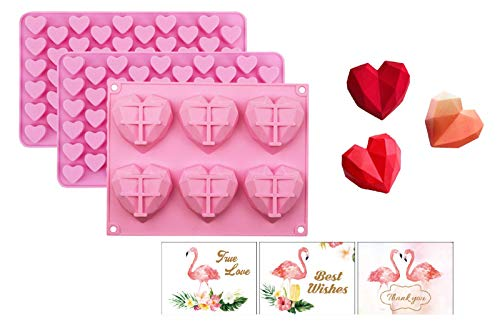 ZoomPlus Diamond Heart Silicone Molds for Chocolate, Candy and French Dessert with 2 Mini Heart Shape Molds and 3 Greeting Cards, 3 Sets Non-stick Easy Release Mousse Cake Decoration Molds for Baking