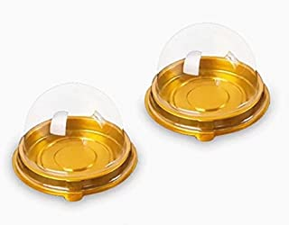 50 Pack 2 inch of Clear plastic mini cake box muffins box cookies cookies muffins dome box wedding birthday gift box (Gold)