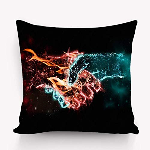 Cushion Case Decorative Square Throw Pillow Cover Cushion Case Pillowcase with Hidden Zipper Closure, Twin Sided Print, Nice to Meet You Hands fire Flame Water ice Smoke
