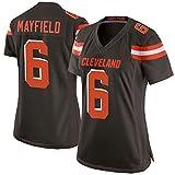 Cleveland Browns Baker Mayfield 6# Camiseta de fútbol americano, camiseta de rugby de manga corta para mujer, 123, color, black-XL(165~170CM)