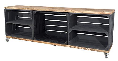 Moooble Edler TV Schrank aus Holz mit 5 Fächern, 150x53x30cm - Obstkisten DIY Holzbohlen Weinkisten Paletten