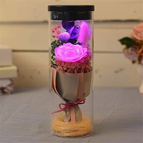 Rosa eterna Rose roja luz de la noche Deseando botella en un...