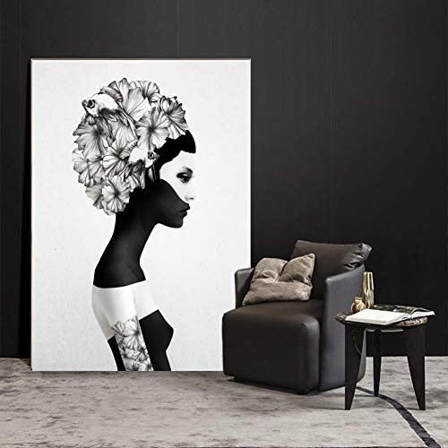 ZWBBO Decoratief schilderij meisje met bloem wandschilderijen canvasdruk zwart-wit poster en prints pop-art schilderijen schilderijen schilderijen huis muur decoratie