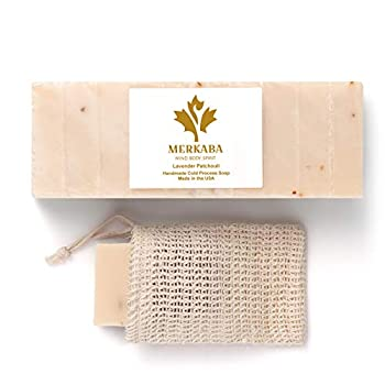 Merkaba Lavender Patchouli Organic Soap - Handmade Soap Luxury Gift Soap Natural Bar Soap for Women and Men Cold Process Artisan Face and Body Bar Soap with Shea Butter Palm Oil Free - 10 Bars