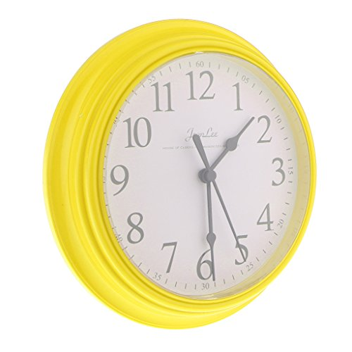 IPOTCH 9 inchs Redondo Reloj de Pared Digital de Cuarzo para Cocina Sala de Estar - Amarillo