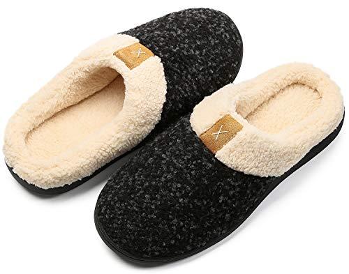 Eagsouni Hausschuhe Damen Herren Memory Foam Winter Pantoffeln Wärme Bequem Plüsch Fleece Gefüttert rutschfeste Haus Schuhe Indoor Outdoor,Schwarz,40/41 EU(280MM)