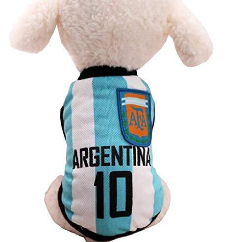 Legisdream Vestido para perros de Ultrà con inscripción Argentina 10 color azul y blanco idea disfraz animales talla XS