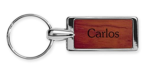 Rosewood Key Ring Keychain Laser Engraved Various Names & Saying Choices Carlos