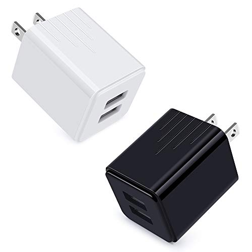 Wall Phone Charger Plug Power USB Charger Block Fast Charge Charging Cube Adapter 2 Pack Compatible for iPhone 11 Pro/Pro Max/Xs/XR/X/8/7/6/Plus,iPad Pro,Samsung,Android Phones,LG,Moto