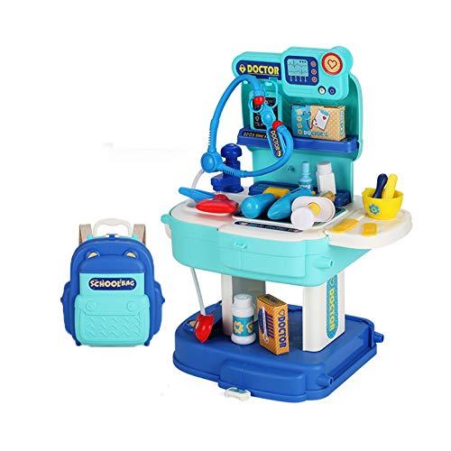 Vet resväska barn Rollenspielset Arztkoffer Vet Kit med ryggsäck hund present till barn flicka pojke,Blue