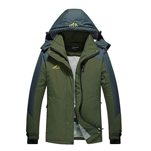 Spmor Damen Skijacke Fleece Jacke Mountain Regenmantel Winddicht Haut Kapuzenjacke - Grün - Groß