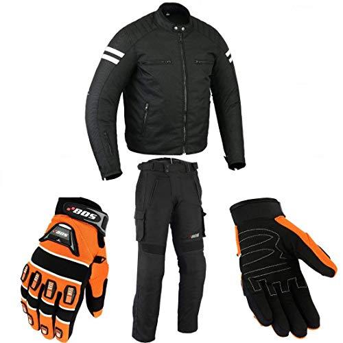 Motorradkombi Biker Motorrad Textil Kombi wasserdichte Jacke, Hose und Handschuhen (4XL, Weiß)