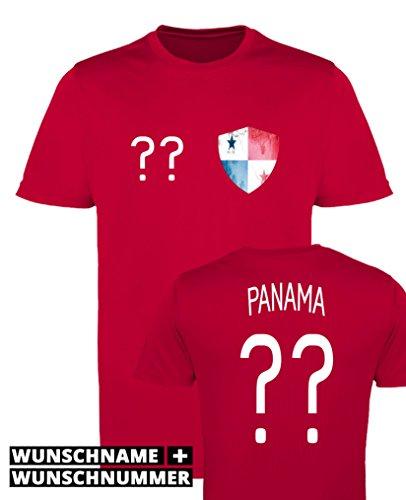 Comedy Shirts - Panama Trikot - Wappen: Klein - Wunsch - Herren Trikot - Rot/Weiss Gr. S