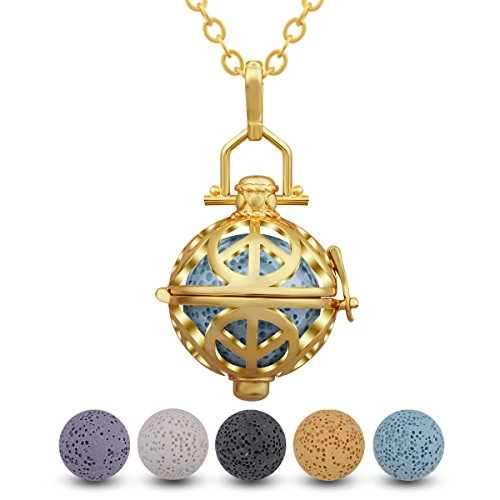 INFUSEU Gouden aromatherapie etherische olie diffuser halsketting hanger medaillon met 5 kleurrijke lavasteen, 20 inch ketting