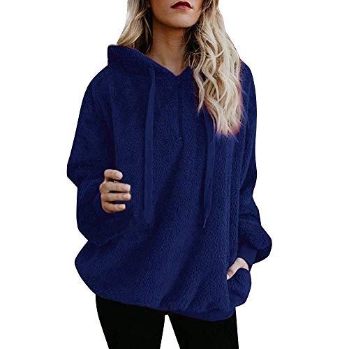 iHENGH Damen Winter Jacke Dicker Warm Bequem Parka Mantel Lässig Mode Frauen warme Flauschige Top Hoodie Sweatshirt Hooded Pullover Jumper(Blau,2XL)