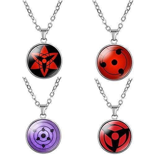 NANLAI Ninja Halskette mit Anhänger von Sharingan Naruto Halskette aus Metall für Dekoration Cosplay Geschenk 4 Stücke