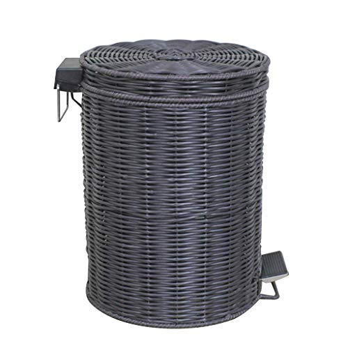 CHUTD Wicker Round Trash Can Wastebasket With Lid,antique Oval Step Garbage Can,pedal Waste Bin Recycle Bin For Bedroom Bathroom Kichen 5l