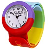 Popwatch Rainbow Colour Slapwatch Fast Fit Kids Childrens Silicone Watch Band Learn to Tell the Time Unisex Instant Fit Any Size