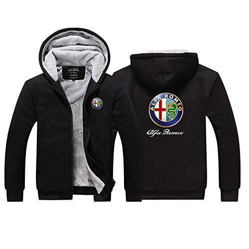 JKAINI Sweats à Capuche Alfa Romeo Imprimé Sweat à Capuche Casual Hiver Chaud Plus Cashmere Zip Jackets Manches Longues - Cadeau Ados Black-XL
