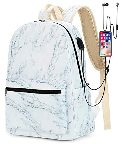 Girls Womens College Laptop Backpack School Bookbag Travel Rucksack School Bag with USB Charging Port for High School (2-Marble-B)